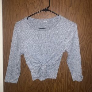 Charlotte Russe Knotted Front Long Sleeve Shirt